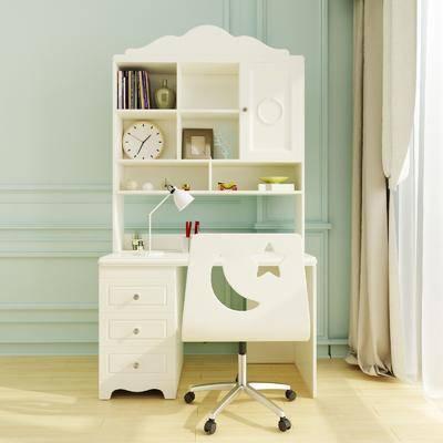 現代, 書桌, 椅子, 書柜