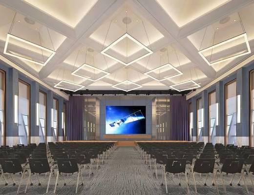 现代, 会议厅, 椅子, 单椅