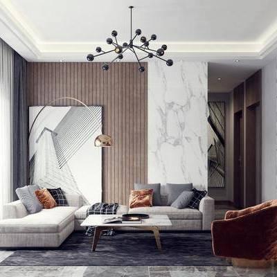 现代客厅, 客餐厅, 沙发组合, 现代沙发, 沙发茶几组合, 电视墙, 多人沙发