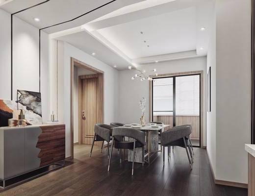现代餐厅, 客餐厅, 现代客餐厅, 现代沙发组合, 沙发茶几组合, 现代沙发茶几组合, 餐桌椅, 桌椅组合, 现代客厅