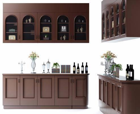 酒柜, 橱柜, 洋酒, 花瓶, 花卉, 摆件, 酒瓶, 装饰品, 美式, 置物柜
