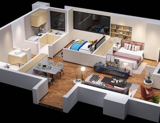 公寓鸟瞰, 客厅, 卧室, 餐桌椅组合, 沙发组合, 沙发茶几组合, 床具组合, 桌椅组合, 现代