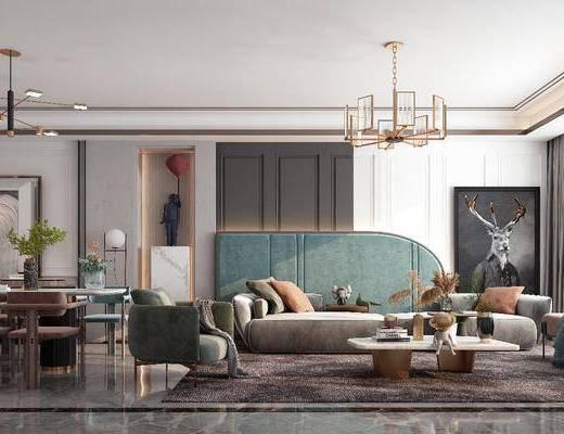 沙发茶几组合, 饰品, 摆件, 背景墙