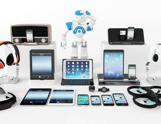 数码产品, 平板电脑, 苹果手机, 智能手机, 耳机, 遥控飞机