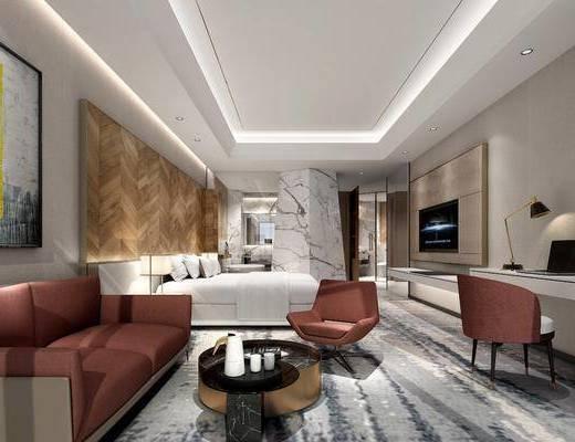 现代酒店客房大床房, 现代, 酒店, 套房, 床, 沙发