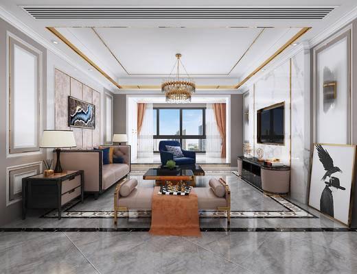 电视柜, 边几, 床头柜, 台灯, 单人沙发, 水晶吊灯, 条凳, 餐桌椅, 挂画, 后现代, 后现代客厅, 后现代餐厅
