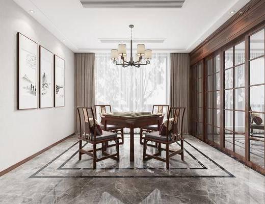 桌椅组合, 麻将桌, 背景墙, 吊灯, 装饰画