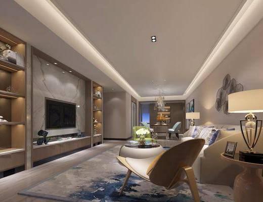 现代客餐厅, 现代客厅, 现代, 沙发, 电视柜