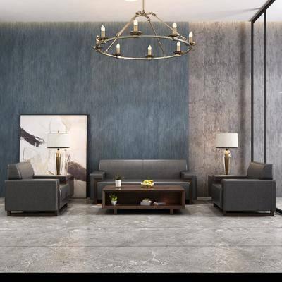 沙发组合, 多人沙发, 茶几, 单人沙发, 边几, 台灯, 装饰画, 挂画, 吊灯, 现代