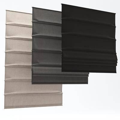 布艺卷帘, 窗帘组合, 现代