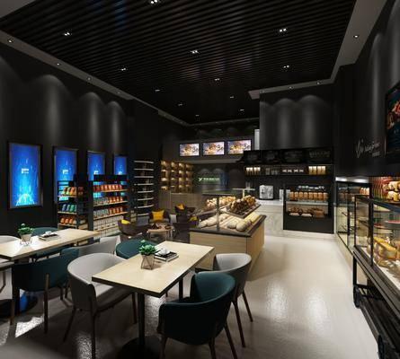 甜品店, 餐桌, 餐椅, 单人椅, 食物柜, 食物, 面包, 前台, 装饰架, 食品, 现代