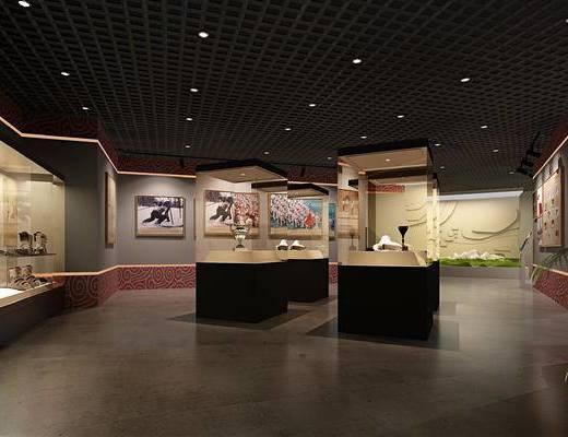 展柜, 展馆, 博物馆, 现代, 过道