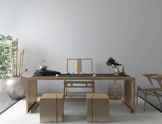 桌椅组合, 茶桌, 单椅, 竹子