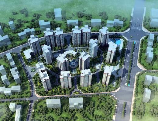 鸟瞰小区建筑, 鸟瞰建筑, 小区建筑, 现代, 鸟瞰, 规划, 商品楼