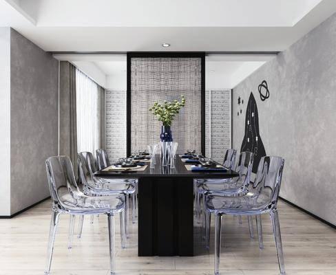 餐厅, 餐桌, 桌椅组合, 摆件, 花瓶