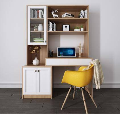 书桌组合, 电脑桌, 单人椅, 北欧