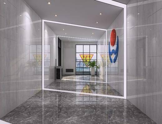 休闲区, 办公区, 走廊, 过道, 现代