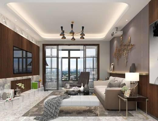 现代客厅, 客厅, 现代沙发, 沙发组合, 沙发茶几组合, 墙饰