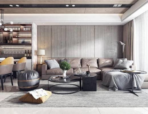 沙发组合, 茶几, 地毯, 吊灯, 电视柜, 餐桌椅
