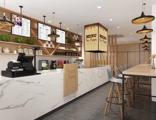 咖啡厅, 单人椅, 吧椅, 吧台, 前台, 收银台, 收银机, 吊灯, 陈设, 摆件, 北欧