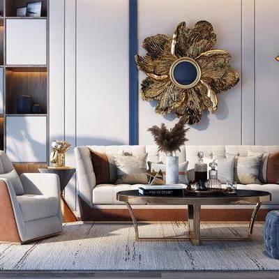沙發組合, 多人沙發, 邊幾, 落地燈, 單人沙發, 盆栽, 綠植植物, 茶幾, 凳子, 腳踏沙發, 墻飾, 擺件, 裝飾品, 陳設品, 后現代