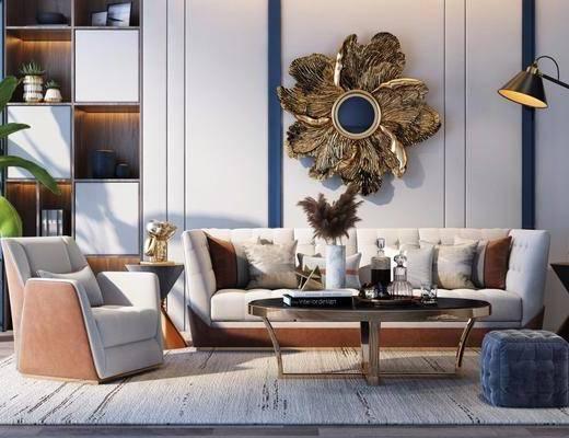 沙发组合, 多人沙发, 边几, 落地灯, 单人沙发, 盆栽, 绿植植物, 茶几, 凳子, 脚踏沙发, 墙饰, 摆件, 装饰品, 陈设品, 后现代
