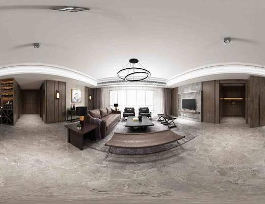 现代, 客厅, 沙发, 多人沙发, 茶几, 吊灯, 边几, 餐桌, 单椅