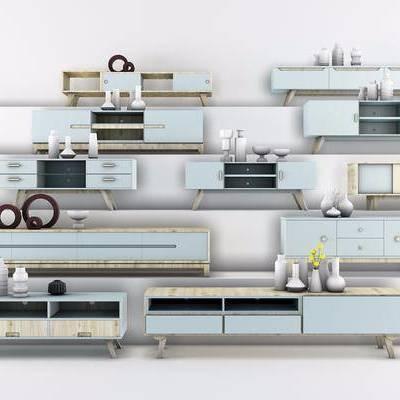现代北欧实木客厅电视柜组合, 现代, 电视柜, 装饰品, 花瓶, 摆件
