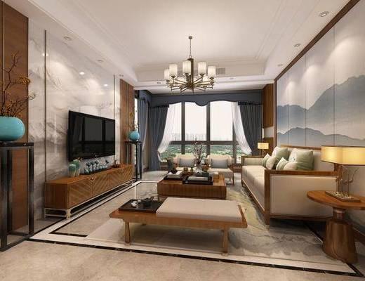 新中式, 客餐厅, 单人沙发, 多人沙发, 电视柜, 边几, 台灯, 吊灯, 餐桌椅