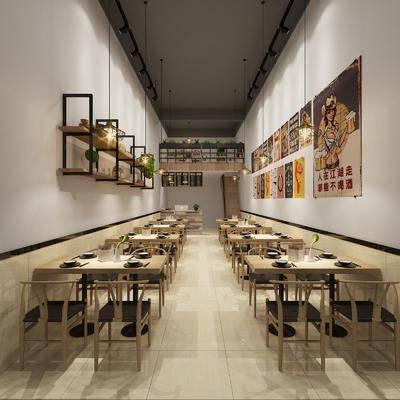 餐厅, 餐馆, 现代餐厅, 置物架, 植物, 盆栽, 挂画, 装饰画, 桌椅组合, 桌椅, 单椅, 门头, 店面, 现代, 双十一