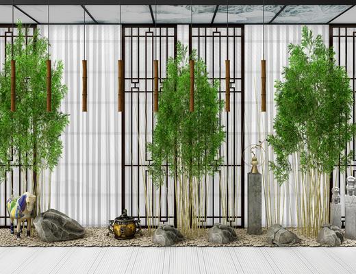 植物, 竹, 彩马, 石柱, 柱子