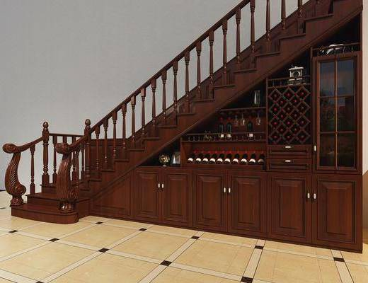 美式楼梯柜, 美式, 楼梯柜, 酒柜, 酒瓶