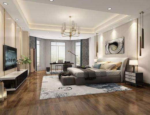 双人床, 电视柜, 电视, 地毯, 吊灯, 装饰画
