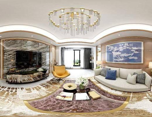 现代客厅餐厅厨房全景模型, 现代, 客厅, 餐厅, 厨房, 全景模型, 360