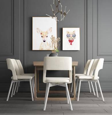 餐桌, 餐椅, 单人椅, 动物画, 装饰画, 北欧