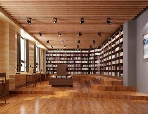 美式书店, 书籍, 书本, 轨迹射灯, 书架, 书柜, 台灯, 桌椅组合