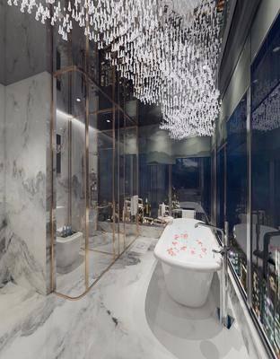 卫生间, 浴缸, 马桶, 吊灯, 现代