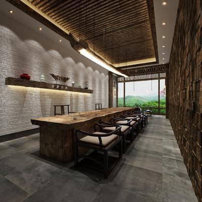 新中式茶馆, 新中式茶室, 桌椅, 椅子, 实木桌椅, 摆件, 吊灯, 茶馆, 茶室