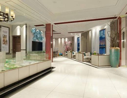 现代, 售楼处, 大堂, 新中式, 沙发