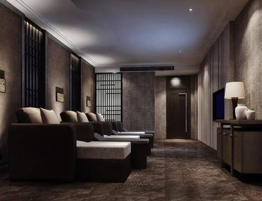 足浴间, 单人床, 壁灯, 墙饰, 边柜, 台灯, 装饰柜, 装饰品, 陈设品, 现代
