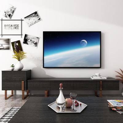 电视柜, 装饰柜, 边柜, 茶几, 照片墙, 现代