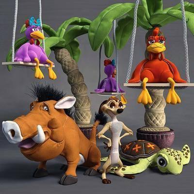 玩具, 玩偶, 狮子王, 彭彭, 丁满, 动物, 摆件, 儿童玩具, 模型, 现代