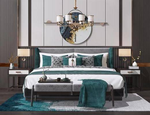 床头柜, 吊灯, 地毯, 双人床, 床具组合, 墙饰