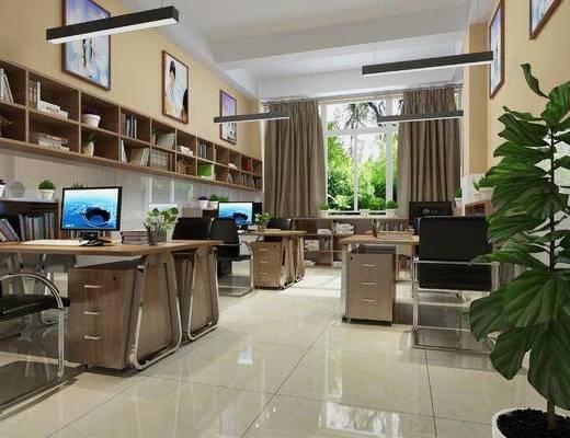现代, 办公室, 办公桌, 办公椅, 置物柜, 办公柜, 吊灯, 电脑, 辅导机构