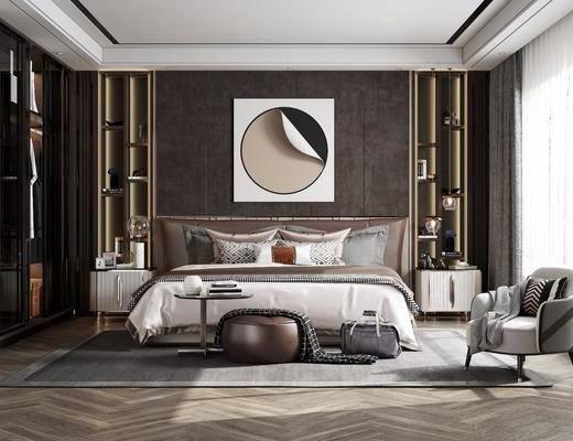 双人床, 床具组合, 装饰画, 衣柜, 单椅