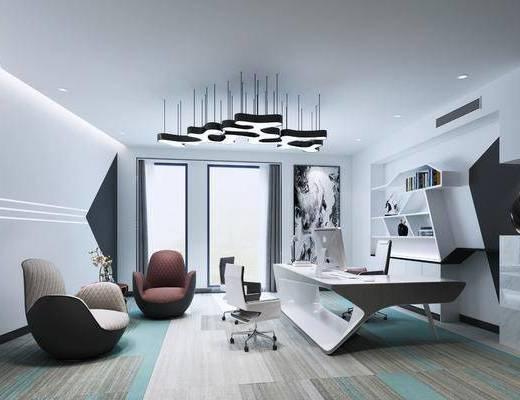 现代办公室, 办公桌, 单椅, 吊灯, 沙发凳