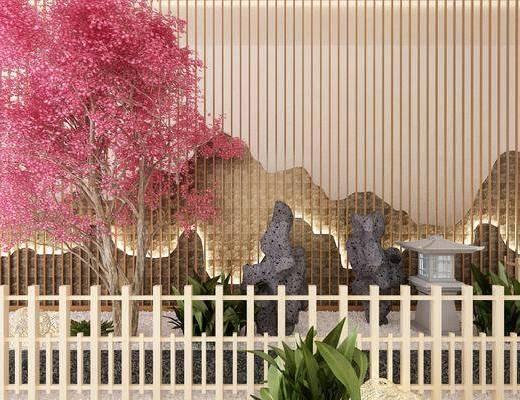 景观小品, 树木, 盆栽, 新中式