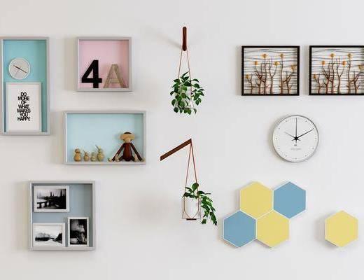 墙饰挂件, 照片墙, 盆栽, 绿植植物, 北欧