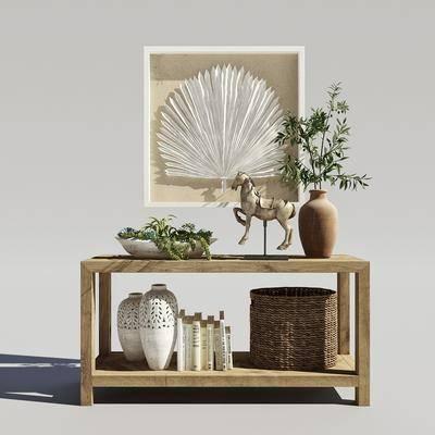摆件组合, 置物柜, 装饰柜, 现代实木置物柜, 民宿