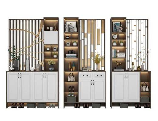 鞋柜组合, 装饰柜, 摆件, 装饰品, 陈设品, 现代
